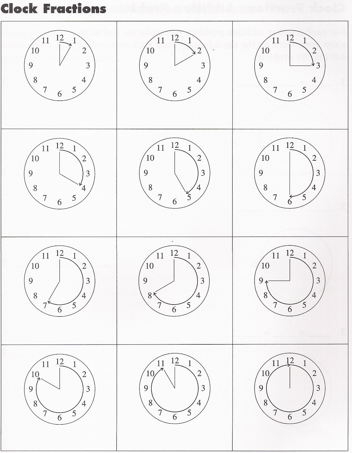 Fractions of an Hour Worksheet - Simple: EnchantedLearning.com