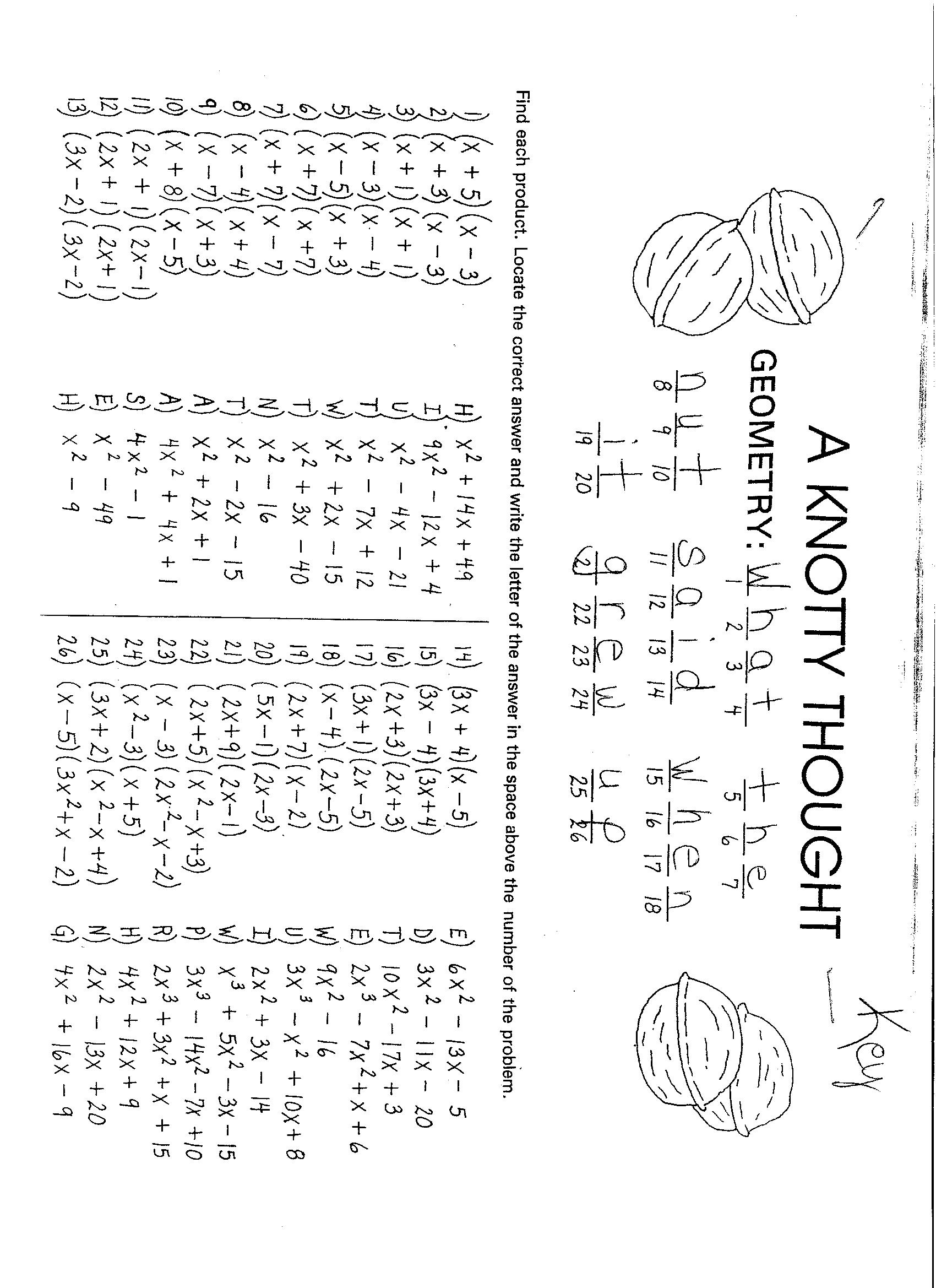 Factoring Polynomials Worksheet – Math Polynomials Worksheets