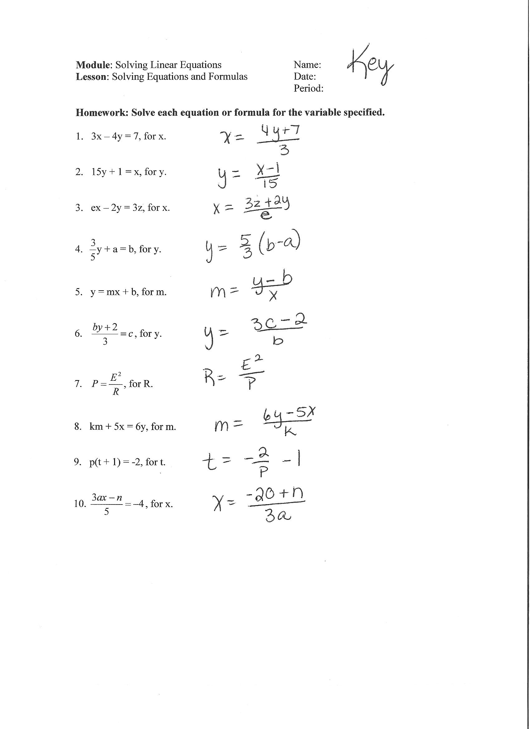 Teacher Sheila Mitchell Content Area Algebra I Grade Level 9 – Solving Literal Equations Worksheet
